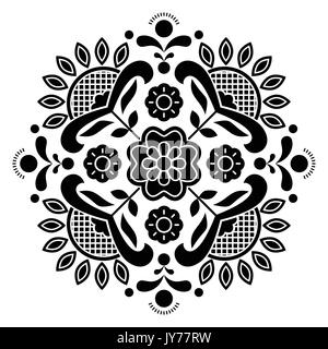Norwegian black folk art Bunad pattern - Rosemaling style embroidery       Vector monochrome background of floral - Stock Photo