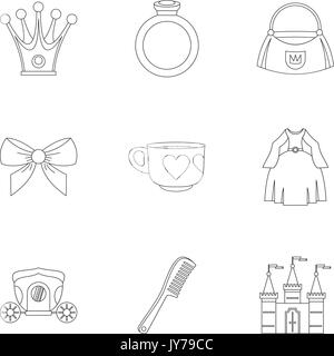 Little princess icon set, outline style - Stock Photo