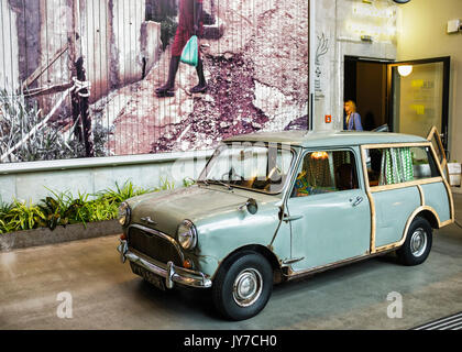 Berlin Charlottenburg.Classic Morris Mini Traveller, Austin Mini Countryman two-door estate car. Rusty automobile - Stock Photo