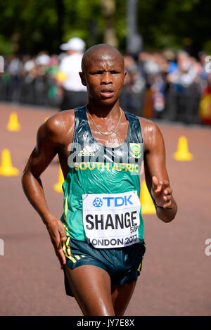 Lebogang Shange of South Africa competing in the IAAF World Athletics Championships Men's 20k walk in The Mall, - Stock Photo
