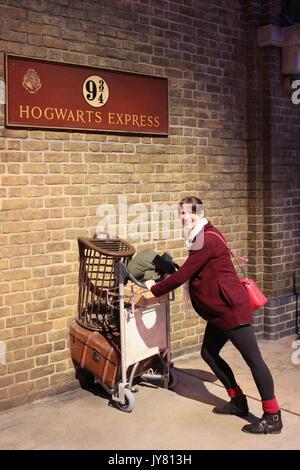 Woman attempts to enter Platform 9 3/4