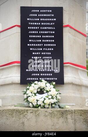 Peterloo memorial flowers and names - Stock Photo