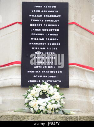 Peterloo memorial flowers and names - Stock Photo