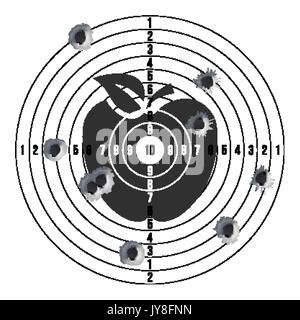 Bullet Holes In Target Vector. Success Shot. Paper Shooting Target For Shooting Competition. Illustration - Stock Photo