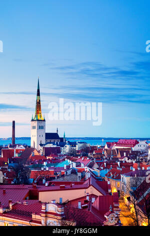Panoramic view of Tallinn's Old City from the Kohtuotsa viewing platform, Tallinn, Estonia - Stock Photo