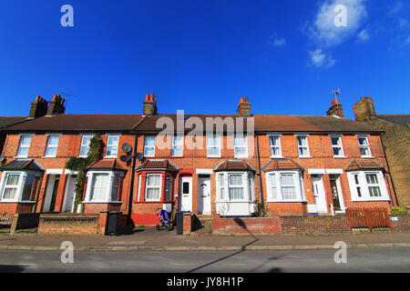 Row of Typical modern Britain Terraced Houses in England UK. - Stock Photo