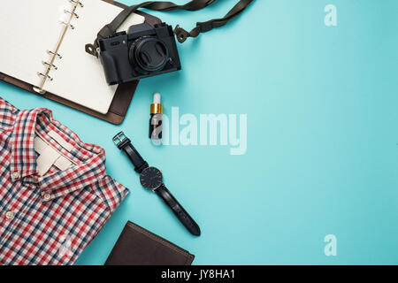 Overhead view of men's casual outfits, Outfits of traveler - Stock Photo