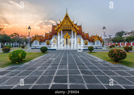 The Marble Temple at sunset, Bangkok, Thailand - Stock Photo