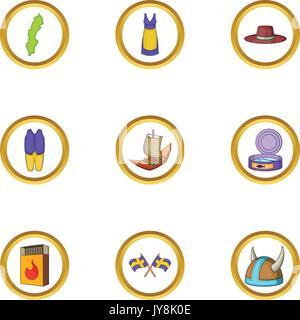 Scandinavian country icons set, cartoon style - Stock Photo