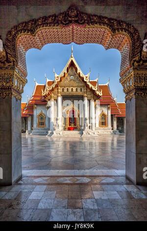 The Marble Temple, Wat Benchamabophit, Bangkok, Thailand - Stock Photo