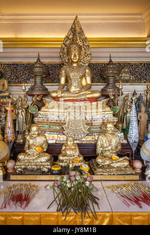 Buddha statue at Wat Saket temple, Golden Mount or Mountain, Bangkok, Thailand - Stock Photo