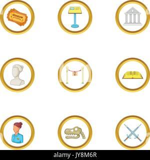 Culture icons set, cartoon style - Stock Photo