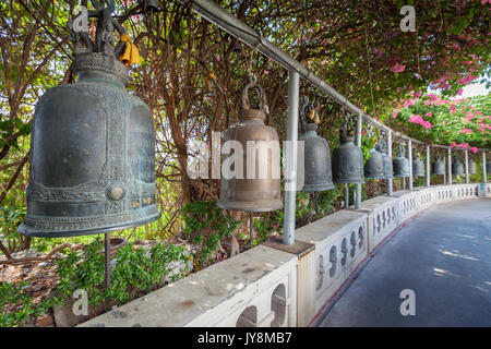 Bells Sounding at the Golden Mount or Mountain, the ancient pagoda at Wat Saket temple, Bangkok, Thailand - Stock Photo