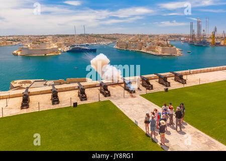 Shot from cannon in Valletta, Malta. - Stock Photo