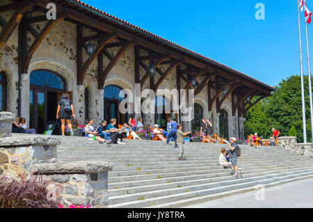 Montreal, Canada - August 16, 2017: Mount Royal Chalet (French: Chalet du Mont-Royal) is a famous building located - Stock Photo