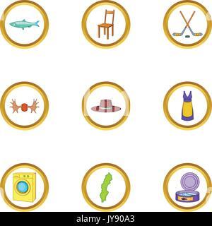 Scandinavia icons set, cartoon style - Stock Photo