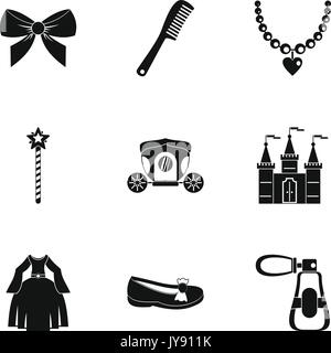 Princess fairy tail icon set, simple style - Stock Photo
