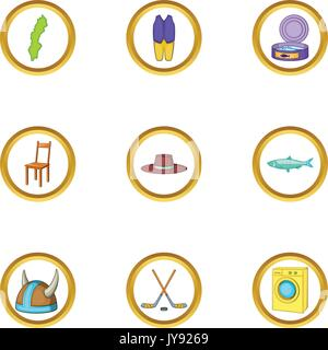 Nordic country icons set, cartoon style - Stock Photo