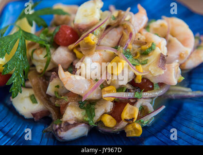 Delicious ceviche mixto mexican style, mixed seafood ceviche - Stock Photo
