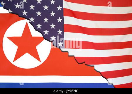 North Korea breaks with USA, political flag concept - Stock Photo