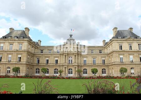 Luxembourg Palace view from the garden - Stock Photo