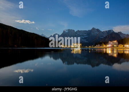 Starry sky during a full moon night in Misurina. Cortina d'Ampezzo. Dolomites. Veneto. Italy. Europe - Stock Photo