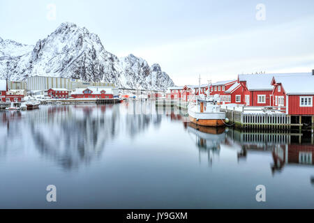 Port of Svollvaer with its characteristic houses on stilts. Lofoten Islands. Norway. Europe - Stock Photo