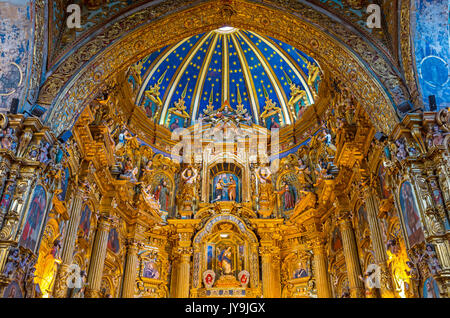 The baroque style San Francisco church featuring the Virgin of Quito inside the convent located in the historic - Stock Photo