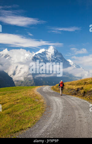 Hiker on the way to Mount Eiger First Grindelwald Bernese Oberland Canton of Berne Switzerland Europe - Stock Photo