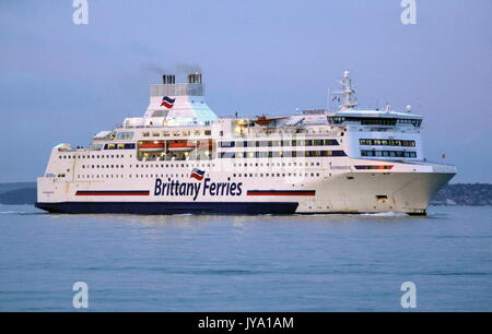 AJAXNETPHOTO. 16TH AUGUST, 2017. PORTSMOUTH, ENGLAND. - BRITTANY FERRIES CROSS CHANNEL CAR AND PASSENGER FERRY NORMANDIE - Stock Photo
