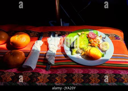 A tasty dish in Ishinca valley, Cordillera Blanca, Peru - Stock Photo