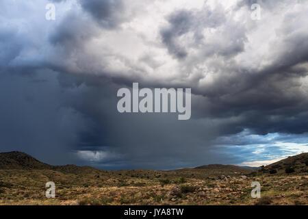 Thunderstorm with heavy rain over Agua Fria National Monument, Arizona - Stock Photo