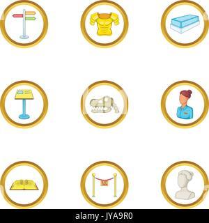 Sculpture icons set, cartoon style - Stock Photo
