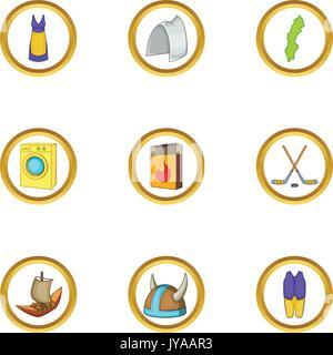 Stockholm icons set, cartoon style - Stock Photo