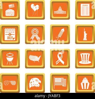 Independence day flag icons set orange - Stock Photo