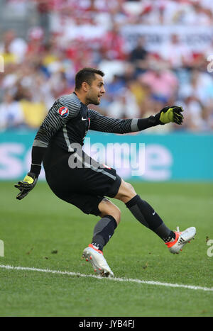 MARSEILLE, FRANCE - JUNE 21, 2016: Goalkeeper Lukasz Fabianski of Poland in action during UEFA EURO 2016 game against - Stock Photo