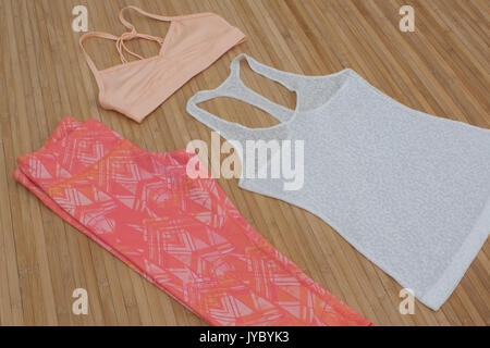 fitness, sportswear, yoga, leggings, capris, flatlay, bright, patterns, bamboo, workout, fashion, exercise, pink, - Stock Photo