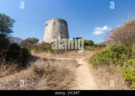 The vegetation of inland surrounds the tower Cala Pira Castiadas Cagliari Sardinia Italy Europe - Stock Photo