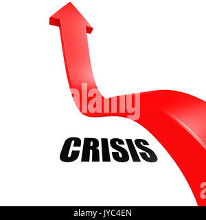 Arrow leap over crisis image with hi-res rendered artwork that could be used for any graphic design. - Stock Photo
