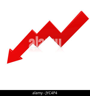 Crisis arrow red image with hi-res rendered artwork that could be used for any graphic design. - Stock Photo