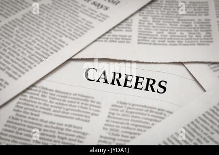 careers headline on newspaper background - Stock Photo