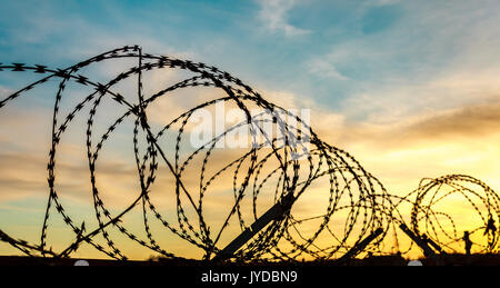 Razor wire fence against a bright sunset - Stock Photo