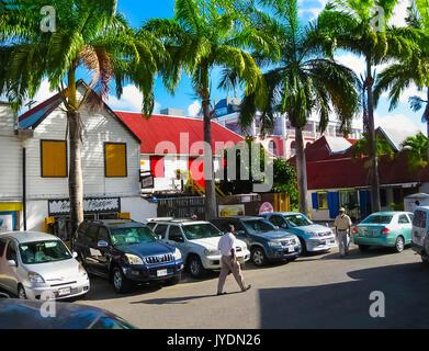 St. John's, Antigua and Barbuda - February 07, 2013: Downtown of Saint John's - Stock Photo