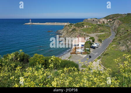 Port-Vendres coastal landscape in the harbor area, Vermilion coast, Mediterranean sea, Roussillon, Pyrenees-Orientales, - Stock Photo