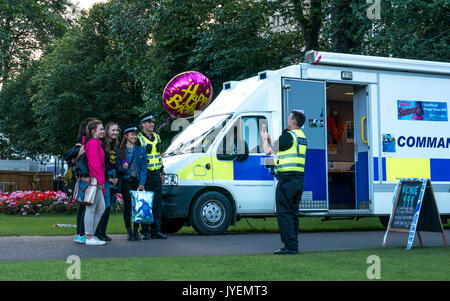 Police Scotland Command Unit, Princes Street Gardens during Edinburgh Fringe Festival, nicknamed Venue 999, with - Stock Photo