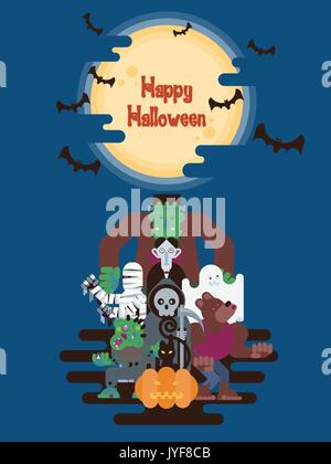 Halloween character group standing under glowing moon and clouds at night with bats in simple cartoon style - Stock Photo