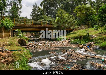 Plastic bottles and other waste rubbish blocking Nairobi river, Kenya - Stock Photo