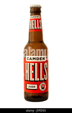 Camden Town Brewery - Hells Lager Bottled Beer. - Stock Photo
