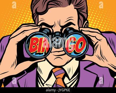 Bingo Businessman looking through binoculars - Stock Photo