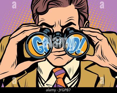 Good Businessman looking through binoculars - Stock Photo